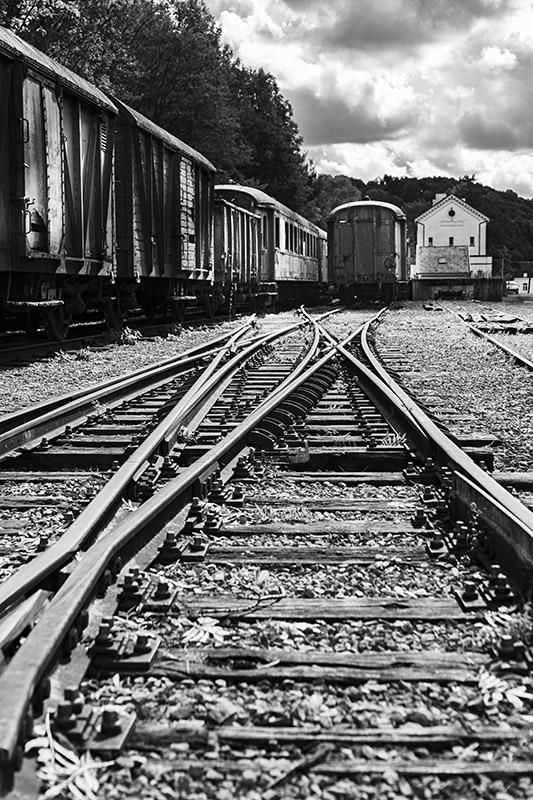 urbex Gare Hombourg zwart-wit